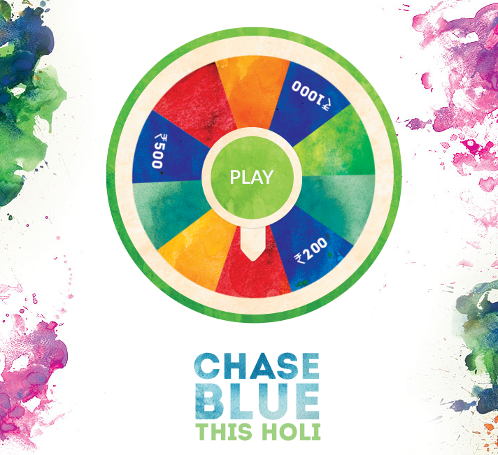 Spin Wheel to spot the blue & Win Recharges Rs  200, Rs  500